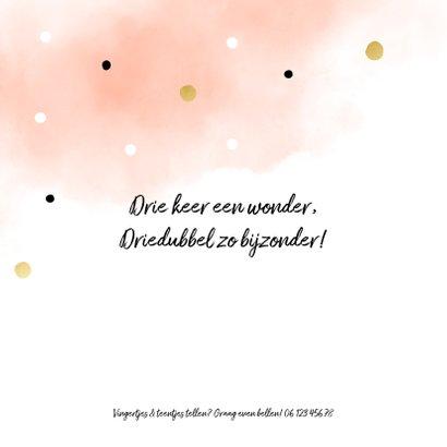 Geboortekaartje meerling met confetti en waterverf zalm 2