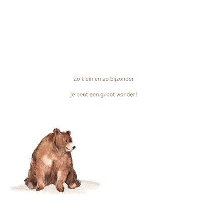 Geboortekaartje meisje bruine beren hartjes 2