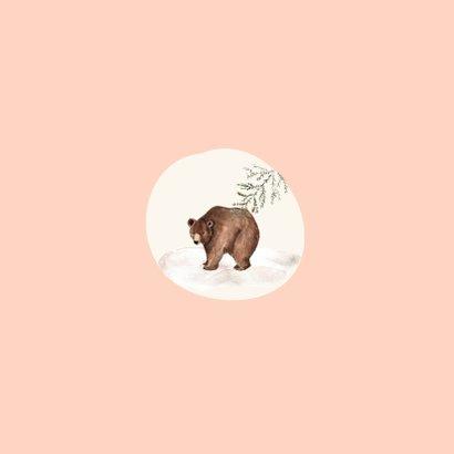 Geboortekaartje meisje bruine beren hartjes Achterkant