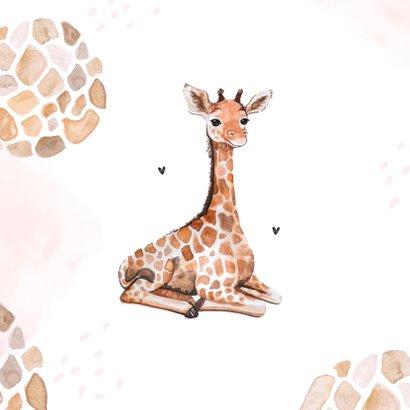 Geboortekaartje meisje dierenprint giraf foto 2