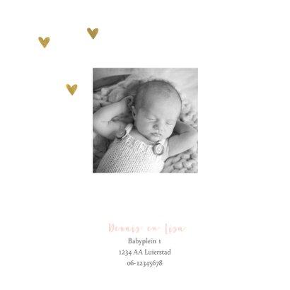 Geboortekaartje meisje flamingo gouden hartjes 2