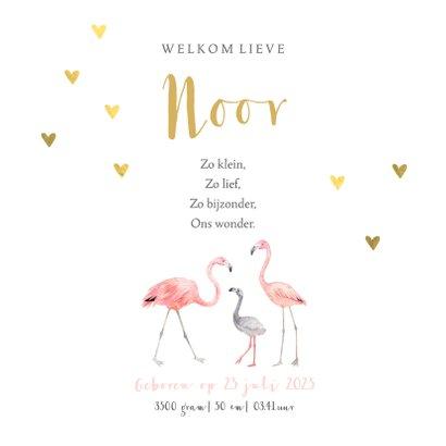 Geboortekaartje meisje flamingo gouden hartjes 3