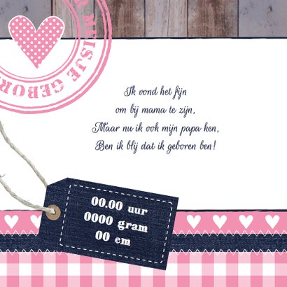 Geboortekaartje meisje foto hout label 2