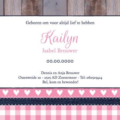 Geboortekaartje meisje foto hout label 3