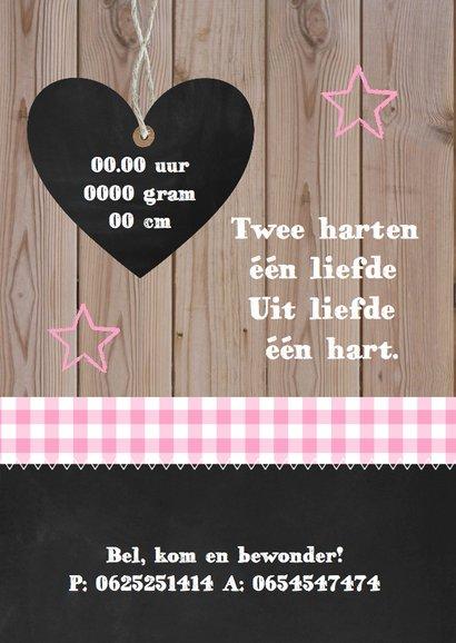 Geboortekaartje meisje foto hout sterren 2