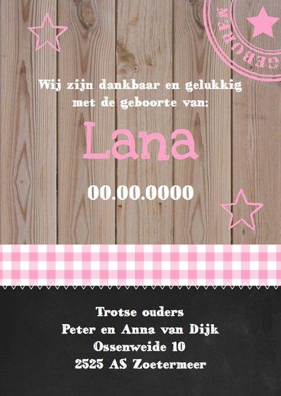 Geboortekaartje meisje foto hout sterren 3