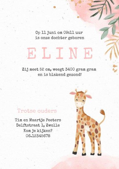 Geboortekaartje meisje giraf waterverf botanisch 3