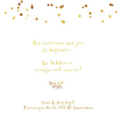 Geboortekaartje meisje goud takje confetti 2