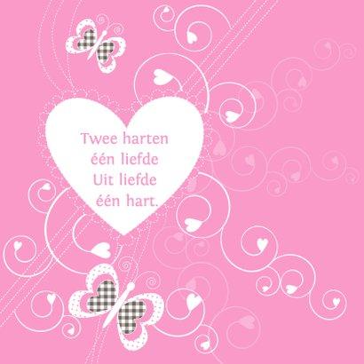 Geboortekaartje meisje hart vlinders 2