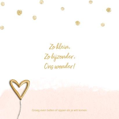 Geboortekaartje meisje hartje goudfolie ballon 2