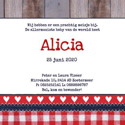 Geboortekaartje meisje hartjes label hout 3