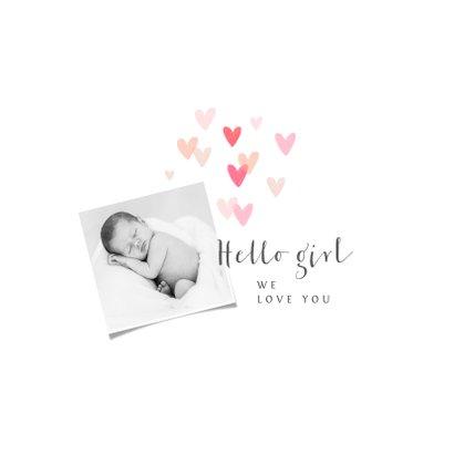 Geboortekaartje meisje hartjes lief foto 2