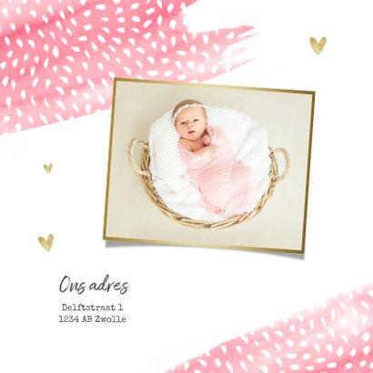 geboortekaartje meisje hip waterverf roze stipjes hartjes 2