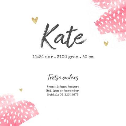 Geboortekaartje meisje hip waterverf roze stipjes hartjes 3