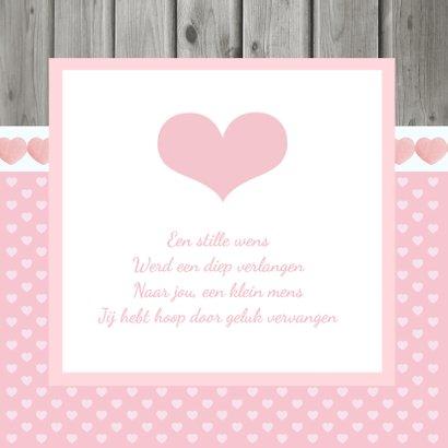Geboortekaartje Meisje Hout Roze 2