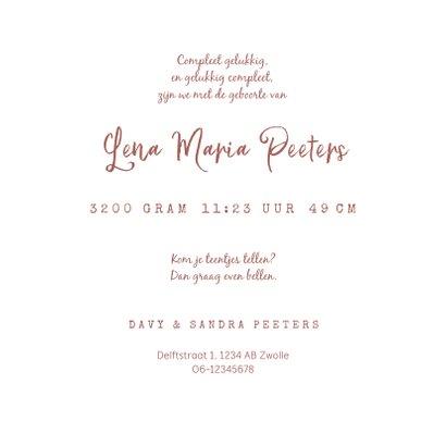Geboortekaartje meisje houten hartje foto terra roze 3