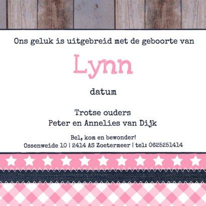 Geboortekaartje meisje label hout 3