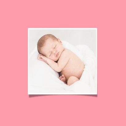 Geboortekaartje meisje less is more neon hartje met foto 2