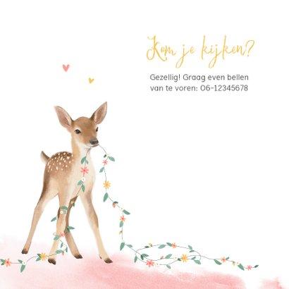 Geboortekaartje meisje lief hertje bloemen lente waterverf 2