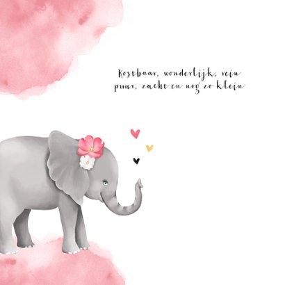 Geboortekaartje meisje lief olifant watercolor hartjes 2