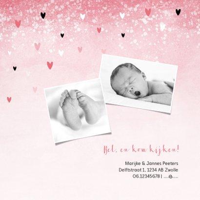 Geboortekaartje meisje lief roze waterverf hartjes 2