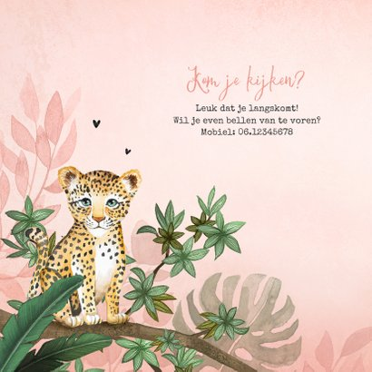 Geboortekaartje meisje luipaard botanisch roze jungle 2
