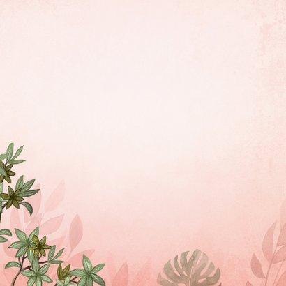 Geboortekaartje meisje luipaard botanisch roze jungle Achterkant