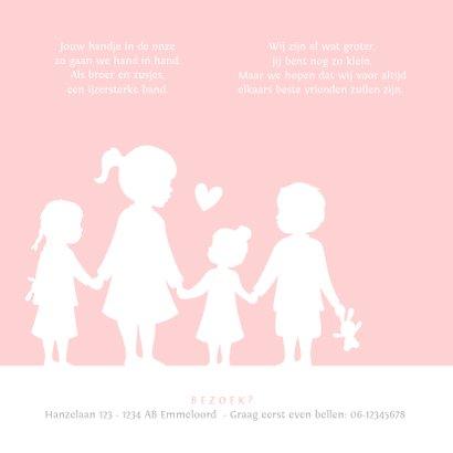 Geboortekaartje meisje met een silhouet van 4 kinderen  2