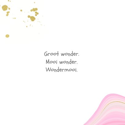 Geboortekaartje meisje met gemarmerde achtergrond en goud 2