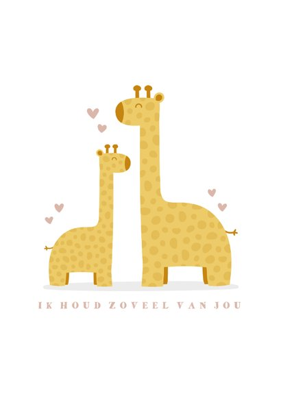 Geboortekaartje meisje met giraffes en hartjes 2