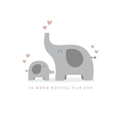 Geboortekaartje meisje met hartjes en olifantjes 2