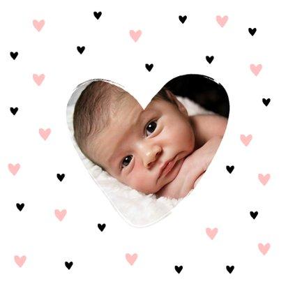Geboortekaartje meisje met hippe hartjes 2