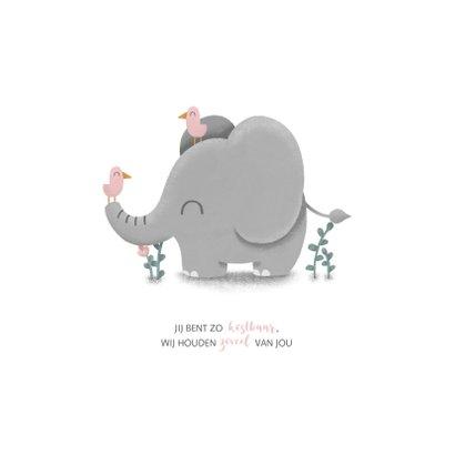 Geboortekaartje meisje met lieve olifant en vogeltjes 2