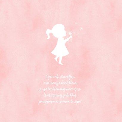 Geboortekaartje meisje met paardenbloem waterverf silhouet 2