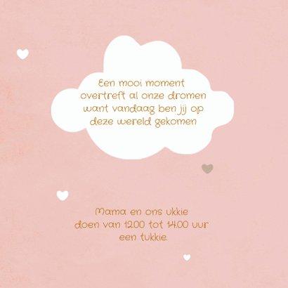 Geboortekaartje meisje met schattig wolkje en hartjes label 2