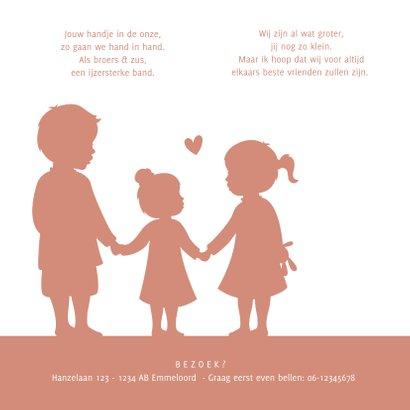 Geboortekaartje meisje met silhouet van grote broer en zus 2