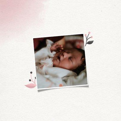 Geboortekaartje meisje met takjes en waterverf 2