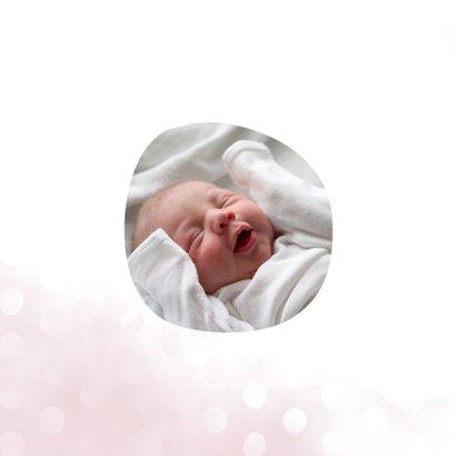 Geboortekaartje meisje met waterverf en stippen vierkant 2
