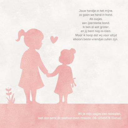 Geboortekaartje meisje met zusje hand in hand in volle maan 2