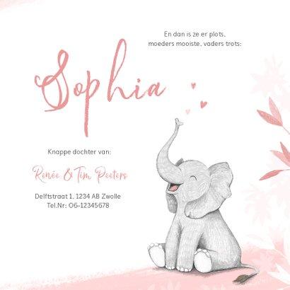 Geboortekaartje meisje olifant dieren roze illustratie 3