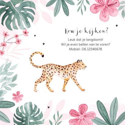 Geboortekaartje meisje panter luipaard jungle roze hartjes 2