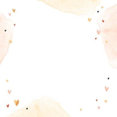 Geboortekaartje meisje regenboog goud hartjes watercolor Achterkant