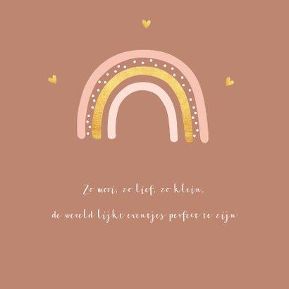 Geboortekaartje meisje roestbruin regenboog goudlook 2