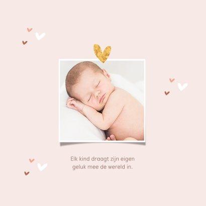 Geboortekaartje meisje roze hartjes subtiel stijlvol goud 2