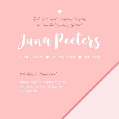 Geboortekaartje meisje roze panterprint hartje foto 3
