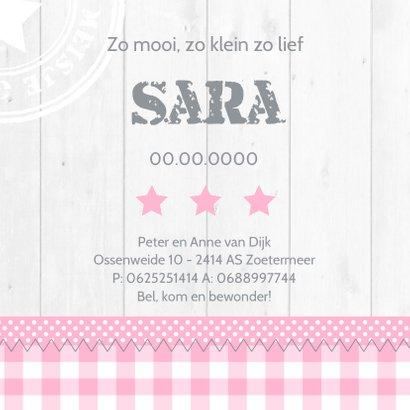 Geboortekaartje meisje ster hout ruitjes 3