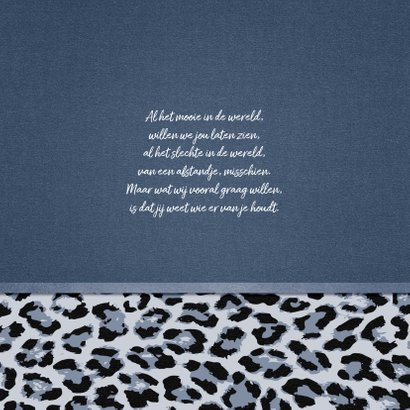 Geboortekaartje meisje stoer met luipaard print en foto 2