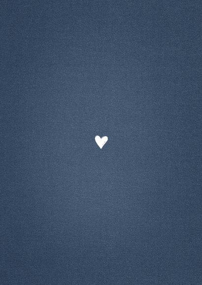 Geboortekaartje meisje stoer panterprint blauw hartje Achterkant