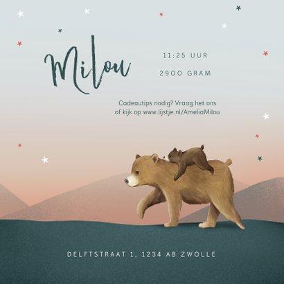 Geboortekaartje meisje tweeling dieren beren familie sterren 3
