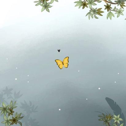 Geboortekaartje meisje uil nachtvlinders jungle boom sterren Achterkant